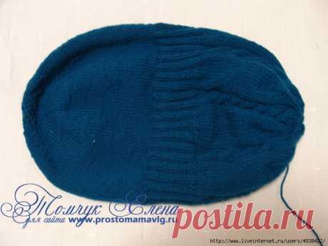Объемная женская шапка двойная спицами без шва. Описание.