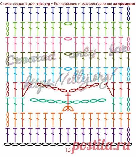 Узор Стрекоза крючком | Вязание крючком от Елены Кожухарь