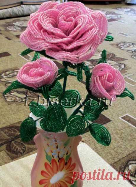 Роза из бисера | Цветы из бисера