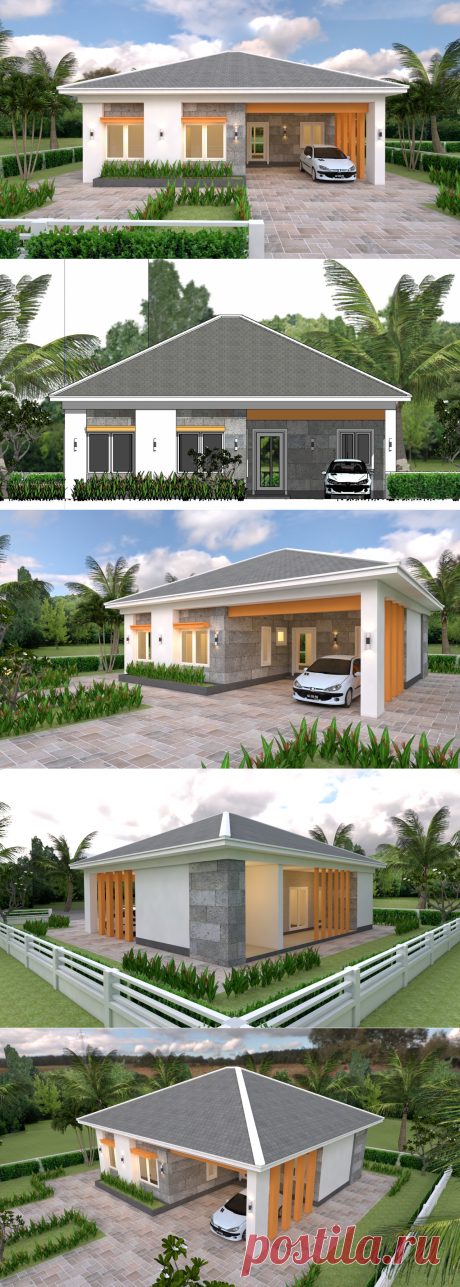 House Plans 12x11 with 3 Bedrooms Hip Roof - House Plans 3D