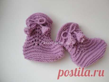Теплые пинетки-сапожки спицами для малыша | Вязаные Идеи.