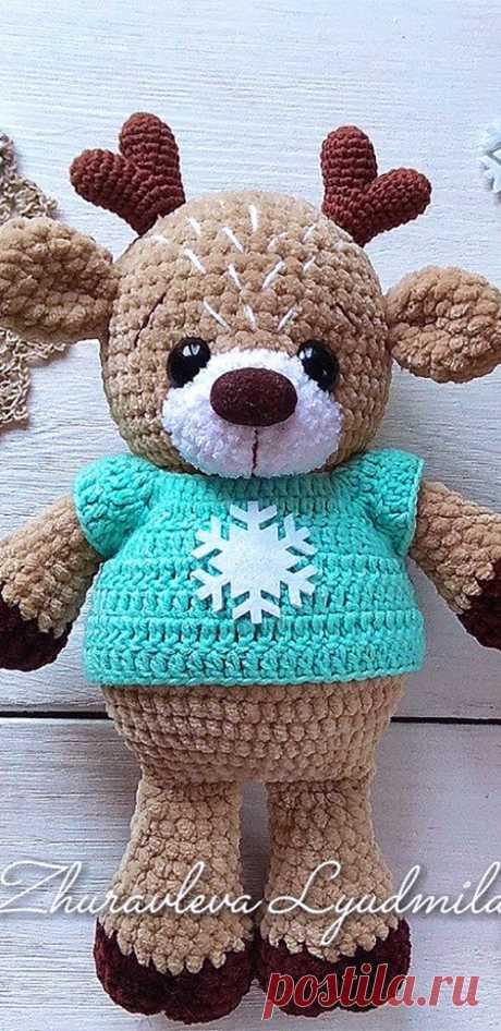 PDF Олень Яшка крючком. FREE crochet pattern; Аmigurumi doll patterns. Амигуруми схемы и описания на русском. Вязаные игрушки и поделки своими руками #amimore - олень, плюшевый оленёнок.