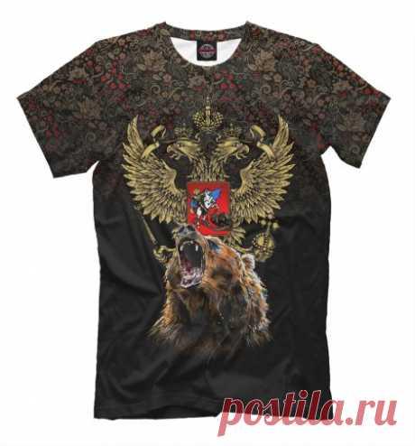 Медведь и герб России на фоне хохломской росписи. Мужская футболка