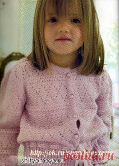 "The pink jacket on the girl connected by spokes. The gentle pink jacket for the girl is connected by spokes a pattern ""rhombuses\"". Decorate a jacket the ribbon passed throughout pattern openings on waistlines, and buttons beads. It is possible to look at a photo in another a razemer here. Size: for 5-7\/8-10\/11-13 years it will be required to you: 200\/250g a wool yarn in 2 additions of pink color; Spokes No. 2,5; Sewing needle; 5 buttons beads; 1 m of a velvet tape of pink color Patterns: Front smooth surface: persons. river – persons. item, izn. river..."