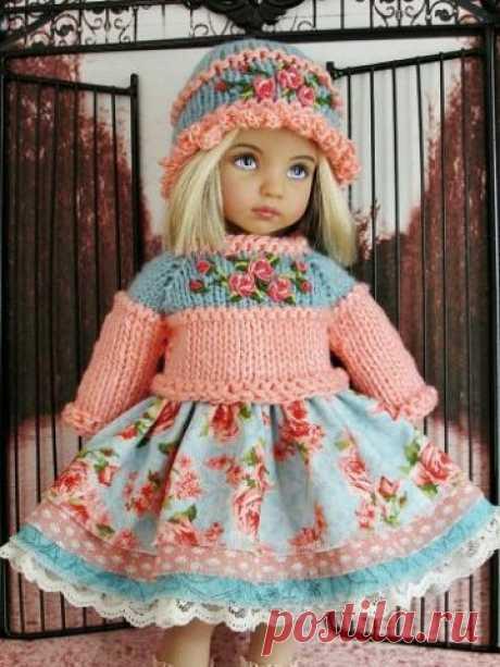 Шикарная вязаная одежда для кукол: