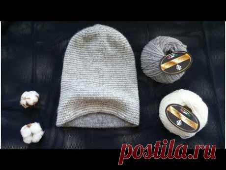 Двойная шапочка-бини спицами / Полосатая весенняя шапка-бини спицами