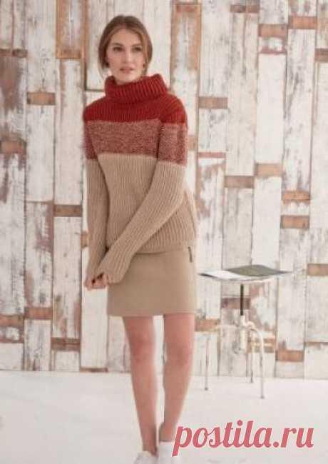 Пуловер резинкой бриошь с высоким воротником Отличная модель женского пуловера узором резинка, связанного на спицах 3 мм из мягкой акриловой пряжи. Вязание модели выполняется резинкой бриошь...