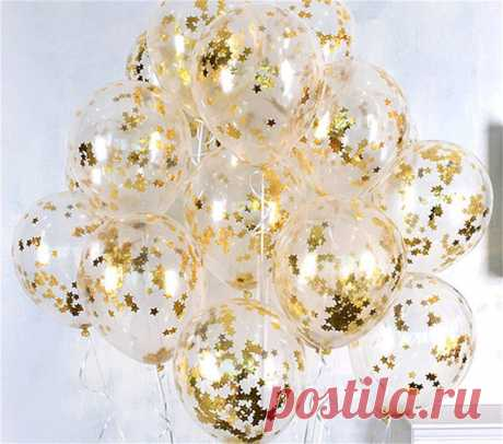 10 шт./лот ясно воздушные шары Gold Star конфетти из фольги прозрачные воздушные шары с днем рождения Baby Shower Свадебная вечеринка украшения купить на AliExpress