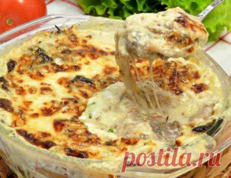 """Грибная сливочно-сырная запеканка """"Кассероль"""" – кулинарный рецепт"""