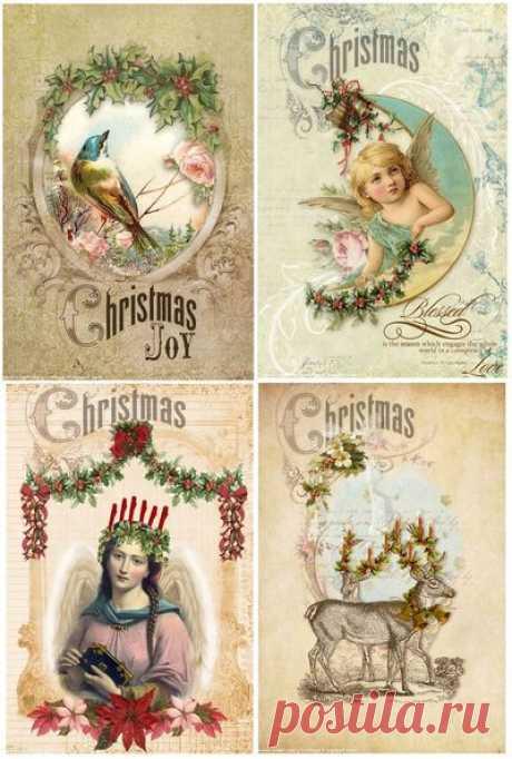 Рождественские открытки — сбор пазла — Пазлы онлайн