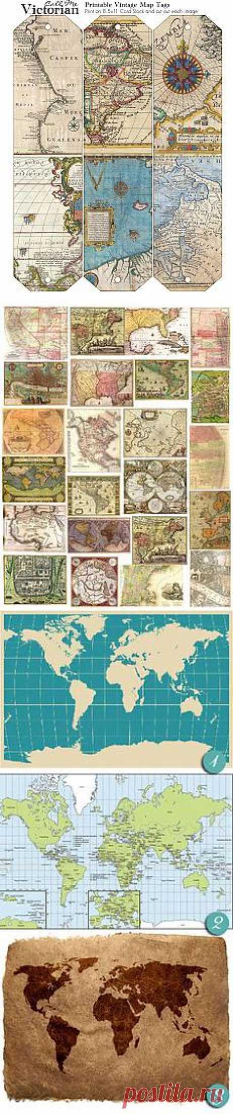 Free printable vintage map tags   Mixed Media Art & Ephemera
