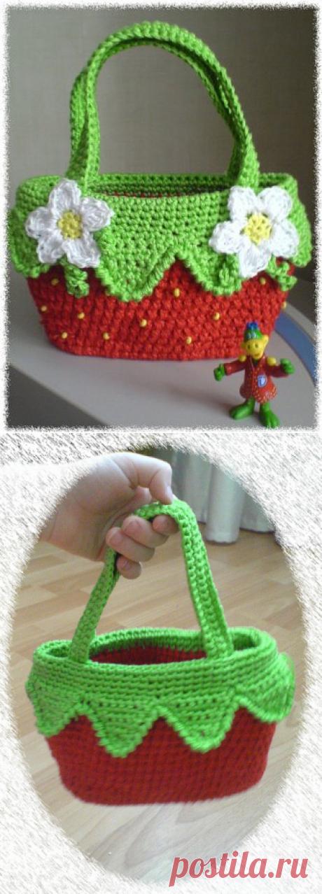 Вязаная сумка «Клубничка» » Ниткой - вязаные вещи для вашего дома, вязание крючком, вязание спицами, схемы вязания