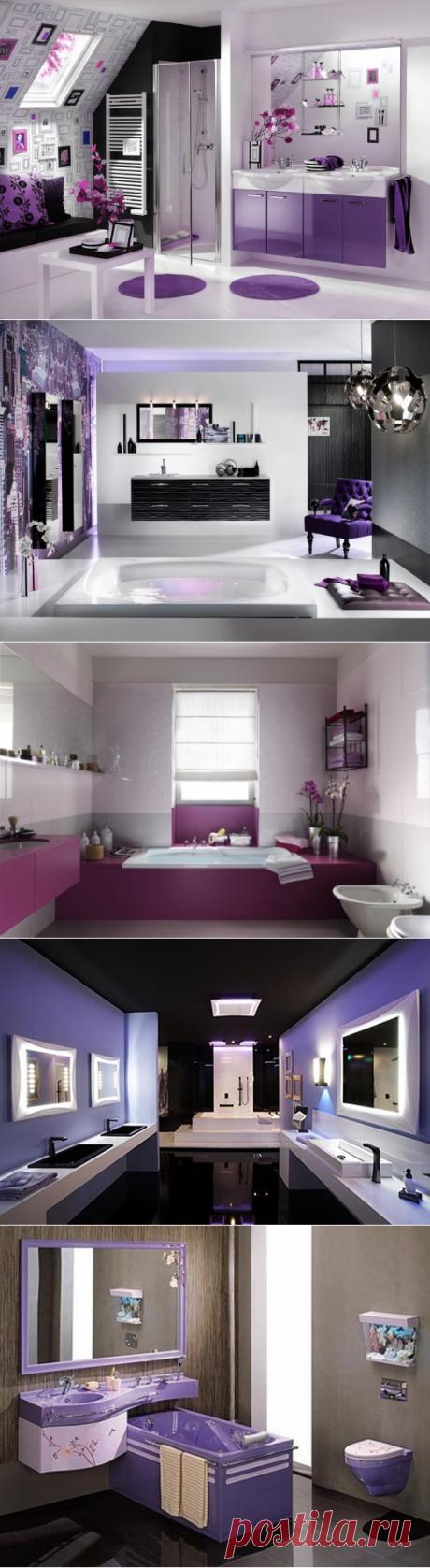 Фиолетово-черный цвет в дизайне ванной комнаты