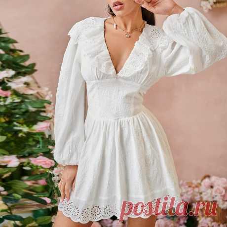 Платье женское SHEIN короткое с фестонами Белое Бохо  Цена 1 710 ₽. Размеры — XS, S, M, L.