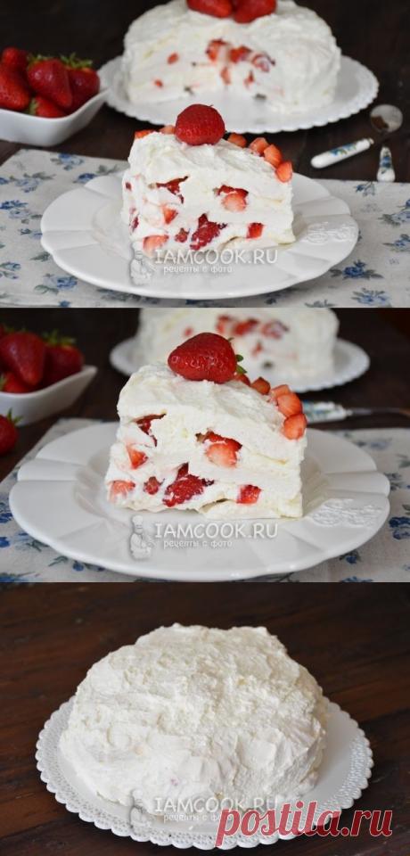 Сливочный торт из зефира и клубники — рецепт с фото пошагово