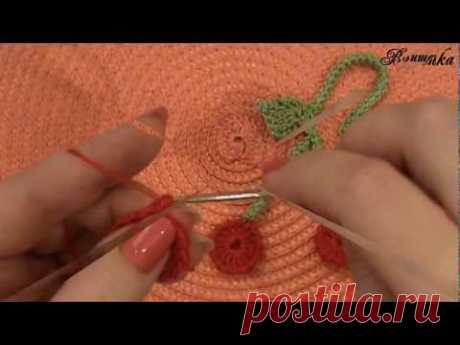 Вязание крючком ажурной закладки ВИШЕНКИ - YouTube