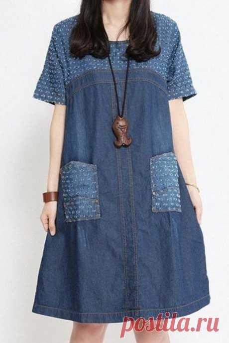Оригинальные лоскутные идеи джинсовых платьев