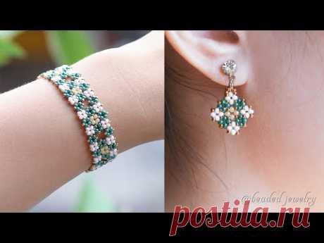 Кластер бриллиантовых украшений комплектуется только бисером. Браслет и серьги. Учебник по бисероплетению