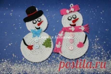 (+2) Снеговики новогодние (вязание крючком, мастер-класс)