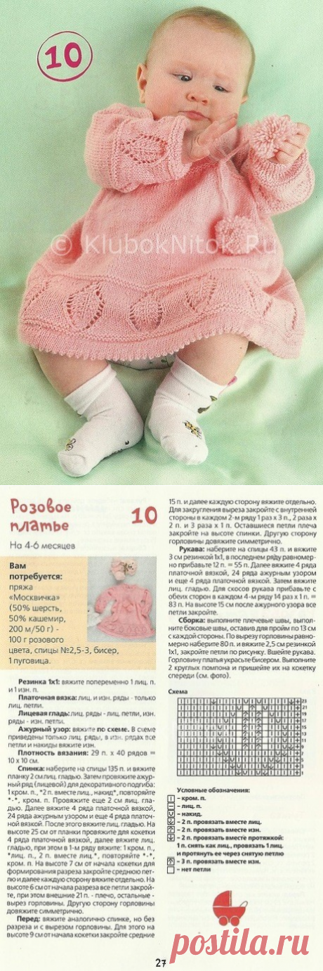 Розовое платье для малышки | Вязание для девочек | Вязание спицами и крючком. Схемы вязания.