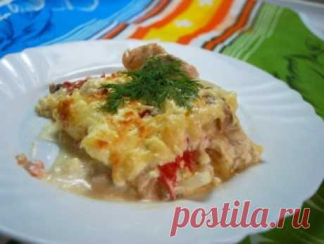 Chicken baked pudding in French, the recipe with a photo.