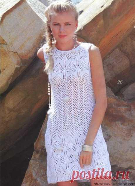 Белое платье спицами Вязаное летнее платье спицами. Схема вязания летнего платья спицами