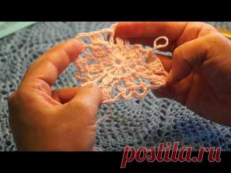 Безотрывное вязание цветочного квадратного мотива крючком