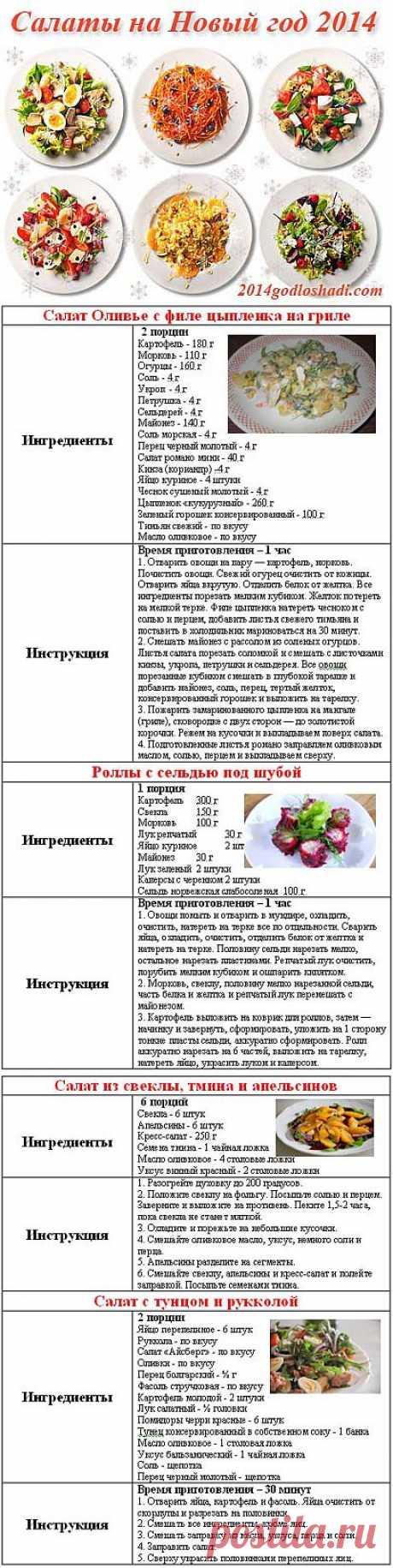 Las ensaladas de Año Nuevo 2014 de la foto, las recetas hacia Nuevo 2014 | 2014 del Caballo