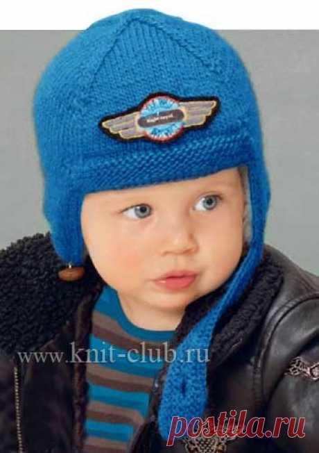 Детская шапка-шлем спицами.