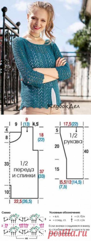 Пуловер крючком с разрезом спереди. Вязание для женщин