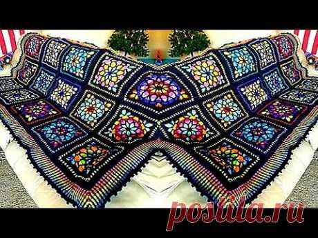 كروشيه مفرش سرير جديد وحصرى تحفه فنيه How To Crochet A Stained Glass Granny Square-Cathedral Windows