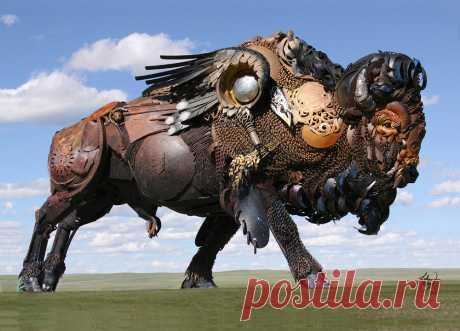 Огромные скульптуры Джона Лопеса — животные в стиле стимпанк