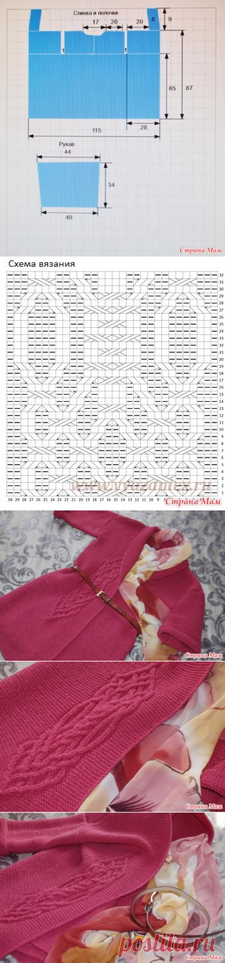 Кардиган моей мечты платочной вязкой с аранами - Вязание - Страна Мам
