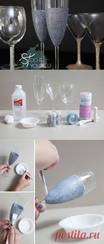 Как украсить бокалы своими руками.