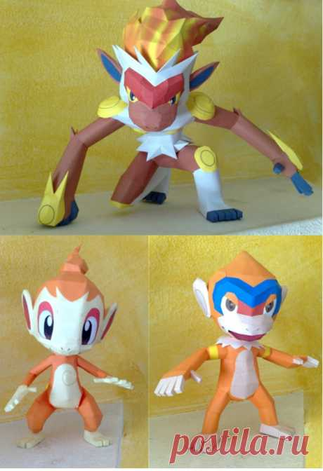 Chimchar evolution papercraft With Infernape I complete the chimchar evolution line. The three papercrafts are designed and built by me. Download links: Chimchar Monferno Infernape