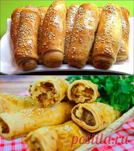 Пирожки-трубочки с капустой: закуска моментального поедания