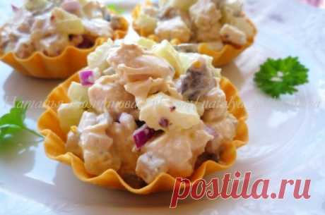 Оригинальный салат с курицей и сельдереем в хрустящих тарталетках - Лучшие рецепты для Вас!