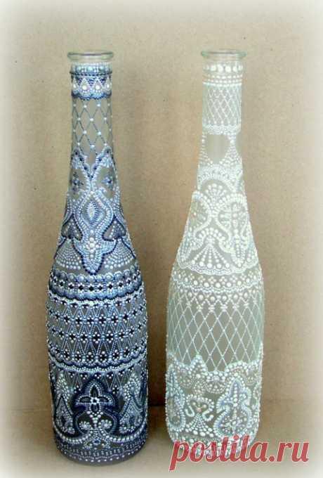 точечная роспись бутылки - Поиск в Google