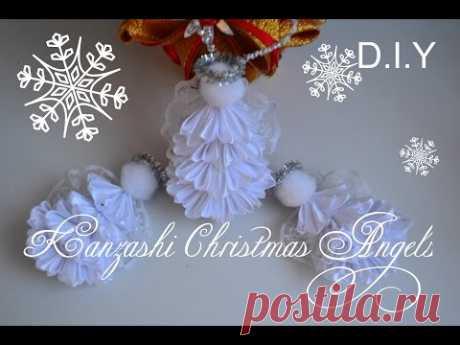 "Kanzashi Christmas Angels/Заколки и игрушка на елку "" Ангелочек""/D.I.Y"