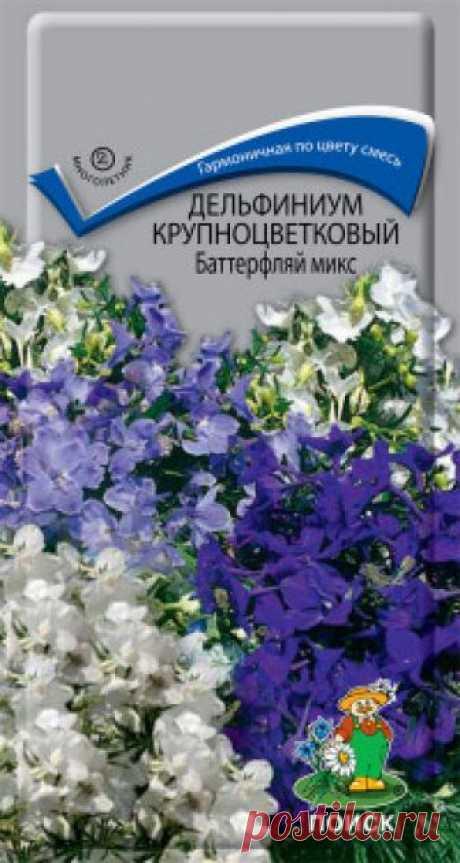 """Семена. """"Дельфиниум крупноцветковый. Баттерфляй микс"""", (вес: 0,2 г) Гармоничная смесь из нежных «цветов-бабочек». Высота растения около 40 см, стебли прямые, опушенные. Листья на длинных черешках, пальчато-рассеченные, сверху зеленые, снизу беловатые. Цветы белые, голубые, синие, розовые собраны в редкую кисть на конце стебля. Цветет..."""