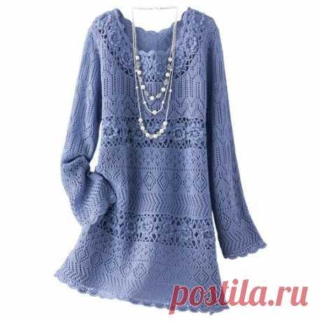 Шикарное голубое платье – Мир вязания и рукоделия