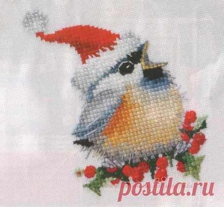 Вышивка крестом, схемы Птичка новогодняя
