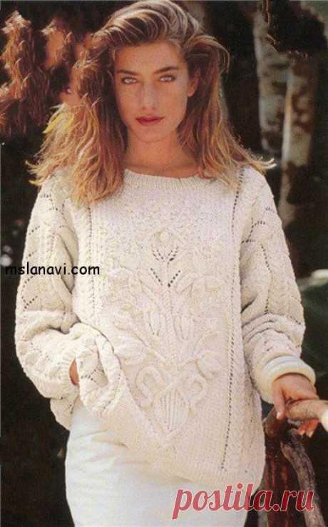Белый пуловер с цветами - Вяжем с Лана Ви Белый пуловер из старых моделей, на мой взгляд, совсем не утратил свою актуальность. Правда, его можно немного модернизировать, например, по форме, т.е. сделать в приталенном варианте. Или, к примеру, трансформировать в жакет, и пустить этот замечательный цветочный мотив на спинку изделия. А, если позволяет время и фигура, то этот пуловер может быть превращен в вязаное […]