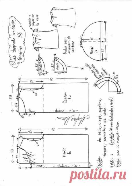 Выкройка блузы с красивым вырезом (Шитье и крой) – Журнал Вдохновение Рукодельницы