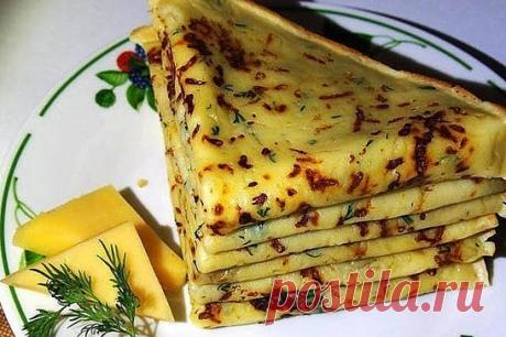 Оригинальные сырные блинчики с зеленью — очень актуальное блюдо этим летом!