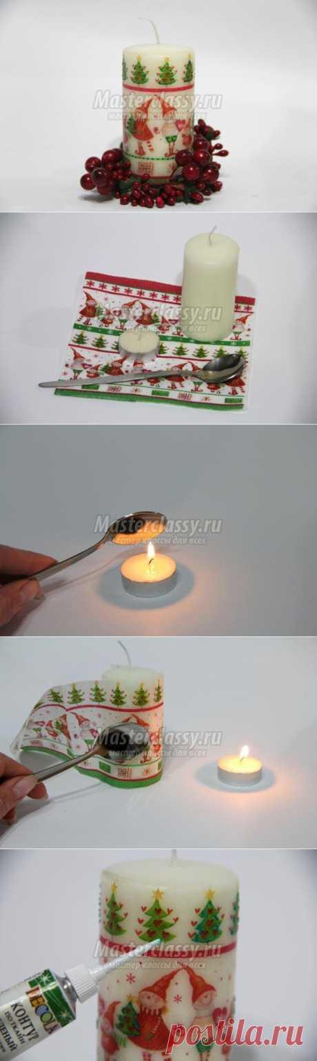 Горячий декупаж новогодней свечи. Мастер-класс с пошаговыми фото
