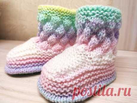 Пинетки спицами ( до 1года). Простая модель. Knitting Baby booties.