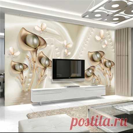3d трехмерные цветы роскошные шелковые украшения Фреска гостиной ТЕЛЕВИЗОР диван спальня фон стены обои фрески купить на AliExpress