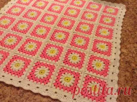 Бабушкин квадрат с цветком крючком - схемы (7 вариантов)
