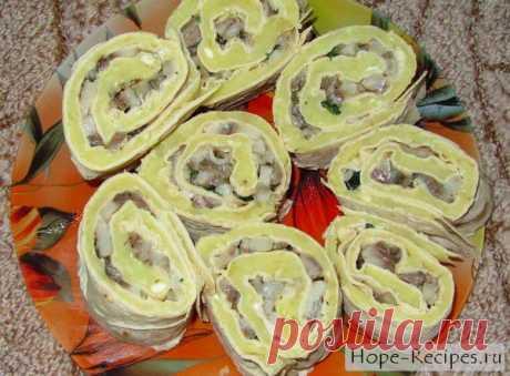 Закуска из лаваша: рулетики с сельдью и картофелем © Кулинарный блог #Рецепты Надежды